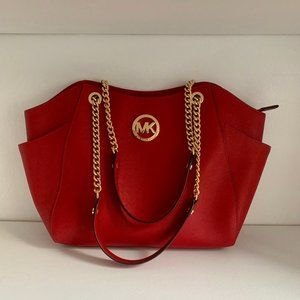 Michael Kor's LG Chain Shoulder Tote - Red